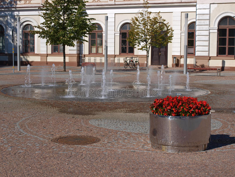 Download Fountains on pavement stock photo. Image of built, flower - 21226770