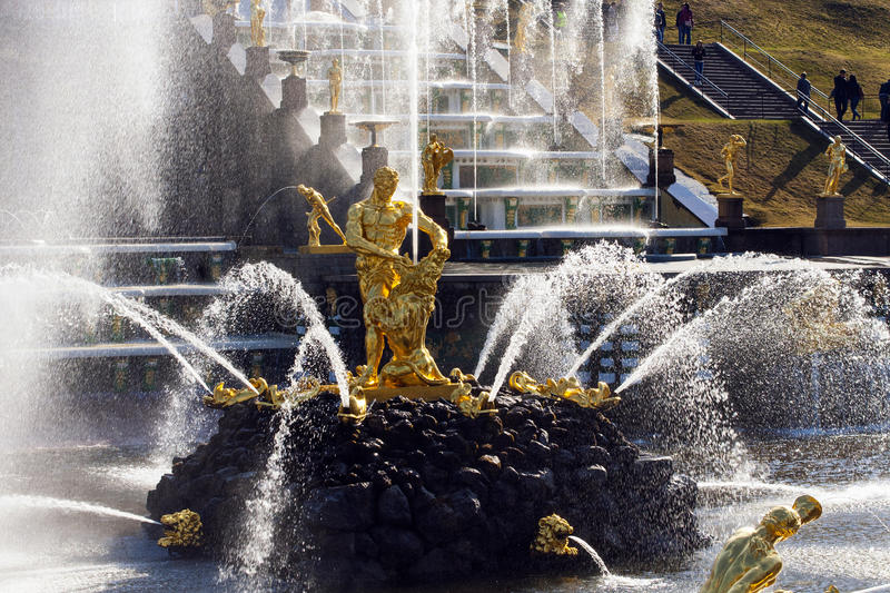 Fountains in Peterhof, Samson tearing the lion's mouth. royalty free stock image