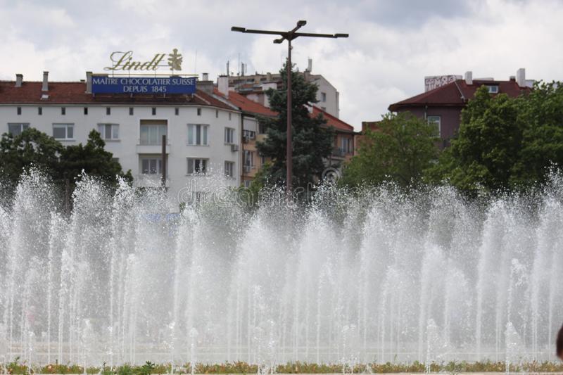 The fountains photo 5 of the center of Sofia at the National Palace of Culture suitable for cool Bulgarian beauty. This photo was taken from Bulgaria, Sofia, NDK royalty free stock photography