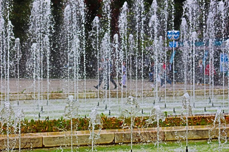 The fountains photo 4 of the center of Sofia at the National Palace of Culture suitable for cool Bulgarian beauty. This photo was taken from Bulgaria, Sofia, NDK royalty free stock photo