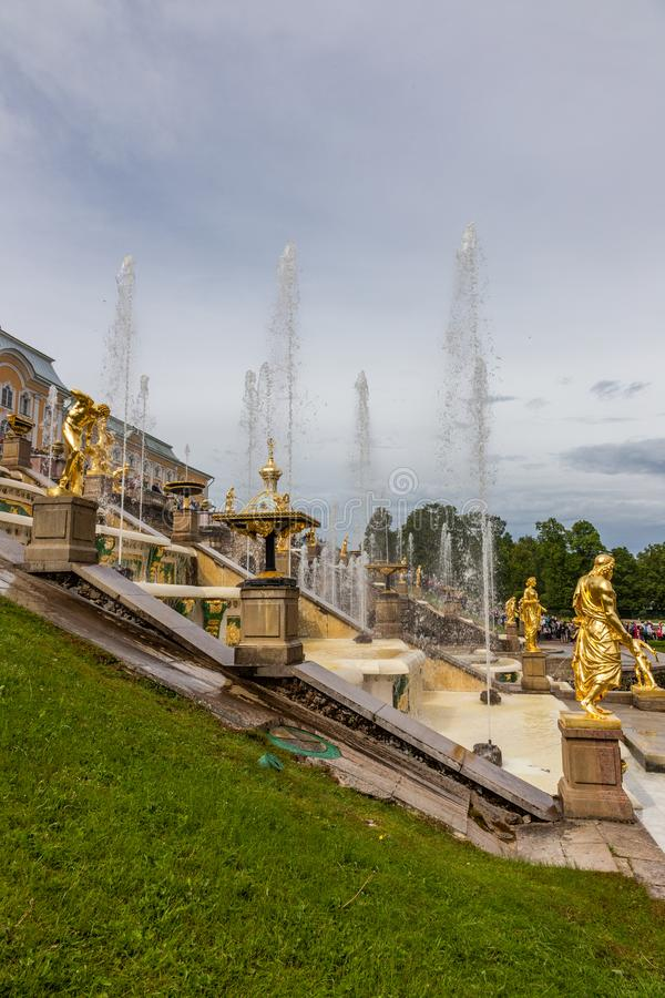Fountains and sculptures of the Grand Cascade of the Peterhof Palace. Russia royalty free stock image