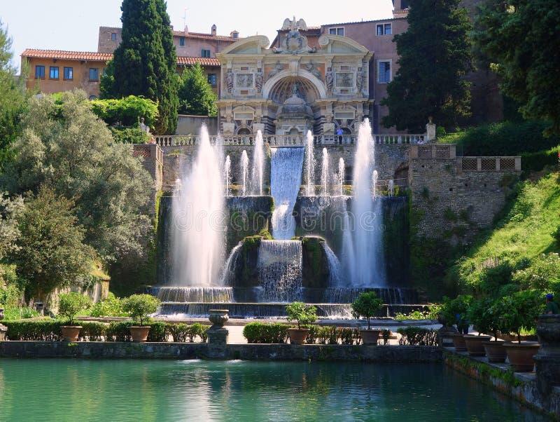 Fountains, Villa D'Este, Tivoli, Italy. Fountains, Renaissance Villa D'Este gardens, Tivoli, near Rome, Italy stock photo