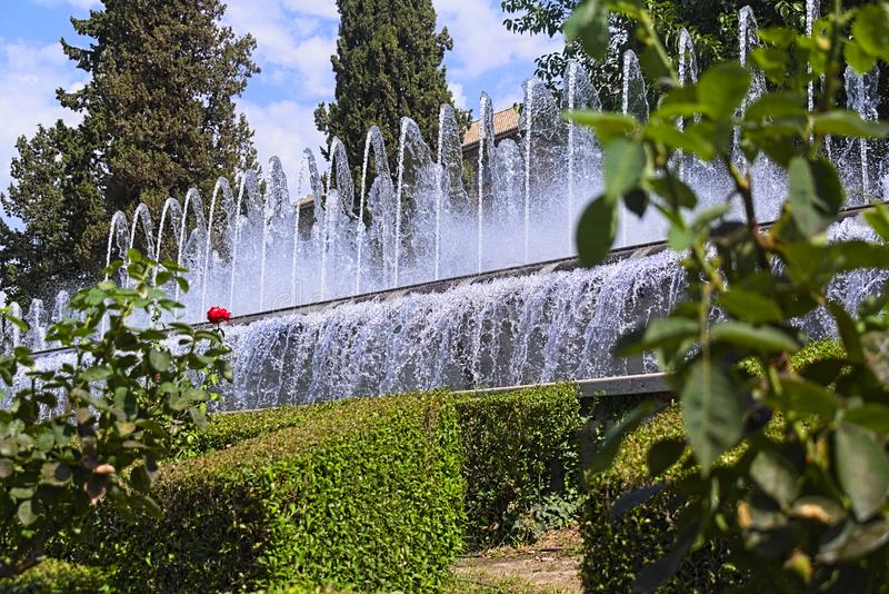 Fountians in a park in Spain, Granada royalty free stock images