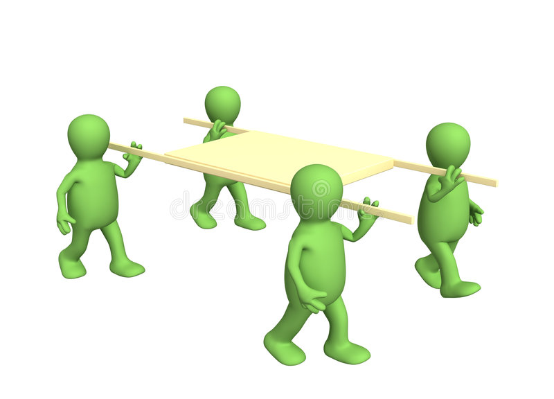 Four 3d persons - puppets, carrying a stretcher royalty free illustration