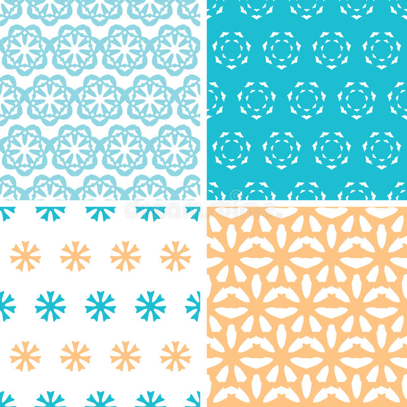 Four abstract blue yellow floral shapes seamless patterns set royalty free illustration
