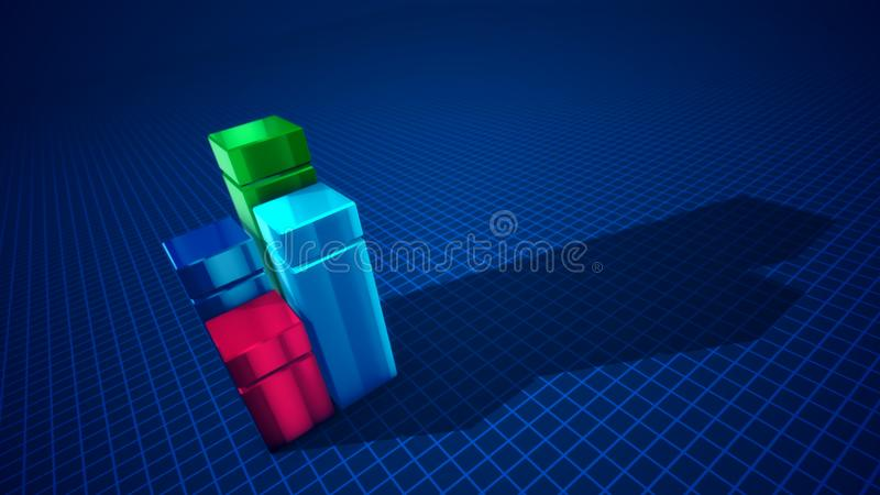 Four abstract columns creating a diagram. Multilayered 3d illustration of four cubic columns of blue, green, celeste and rosy colors forming a chart in the blue vector illustration