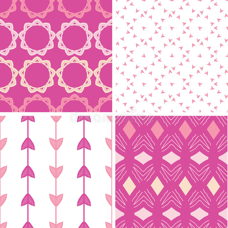 Download Four Abstract Geometric Pink Seamless Patterns Set Stock Vector - Image: 38033409