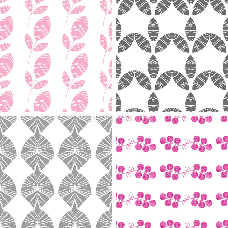 Four abstract pink gray textured leaves seamless vector illustration
