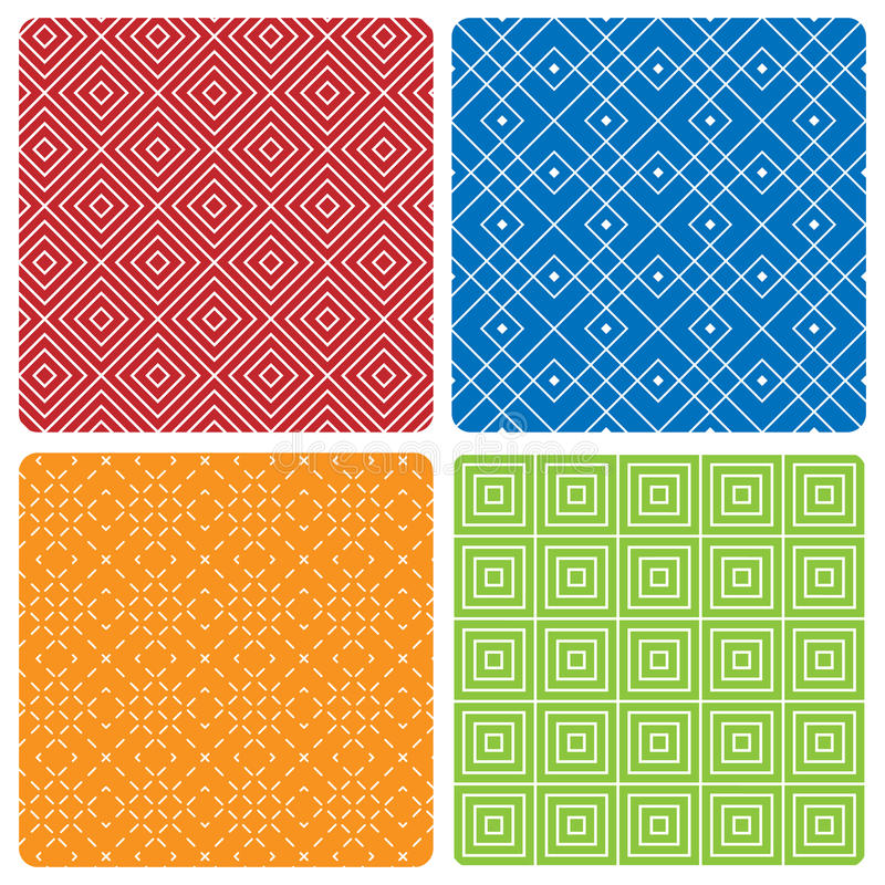 Four abstract seamless patterns royalty free illustration