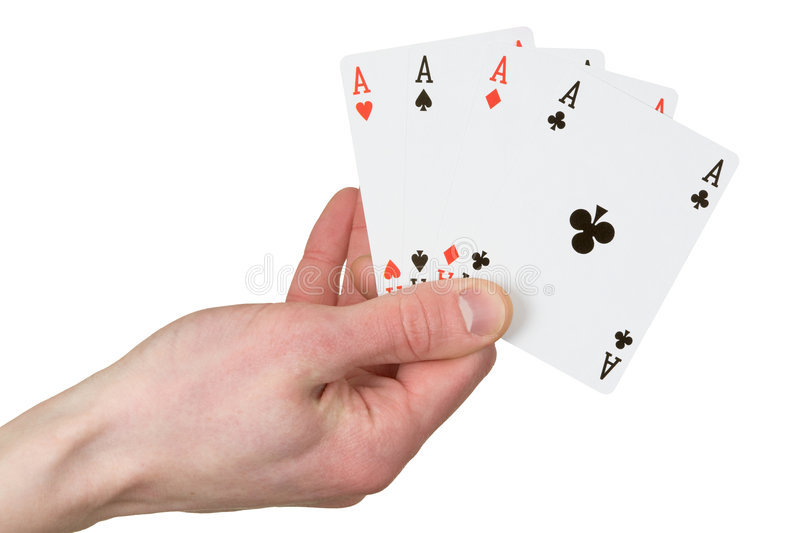 Four ace on the hand stock photography