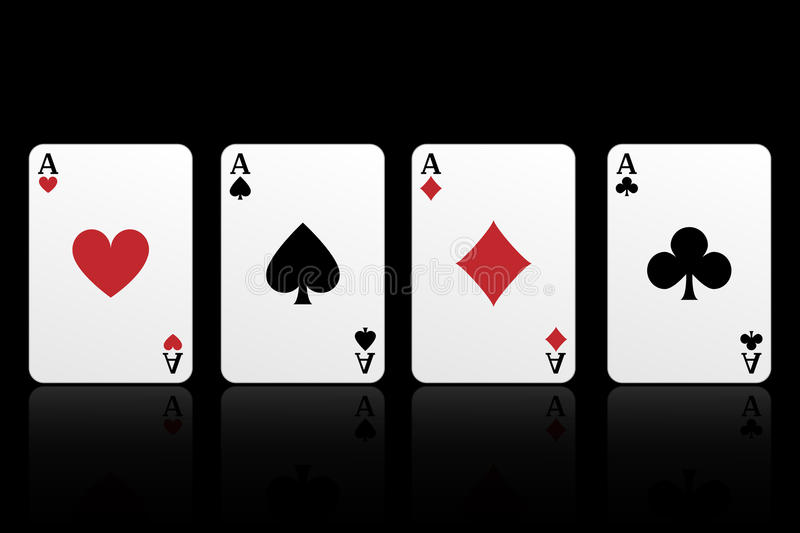 Four aces. Playing cards:four aces isolated on black background.EPS file available royalty free illustration