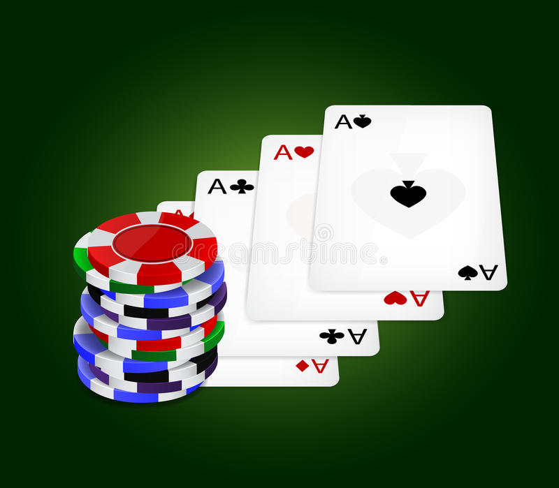 Download Four aces and chips stock vector. Image of club, gamble - 24251237