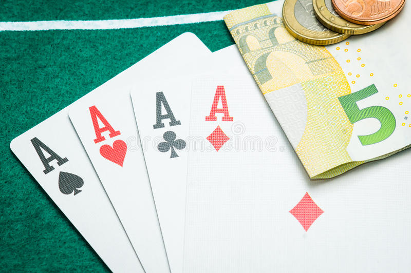Download Four aces and euros stock photo. Image of loose, heart - 36344230