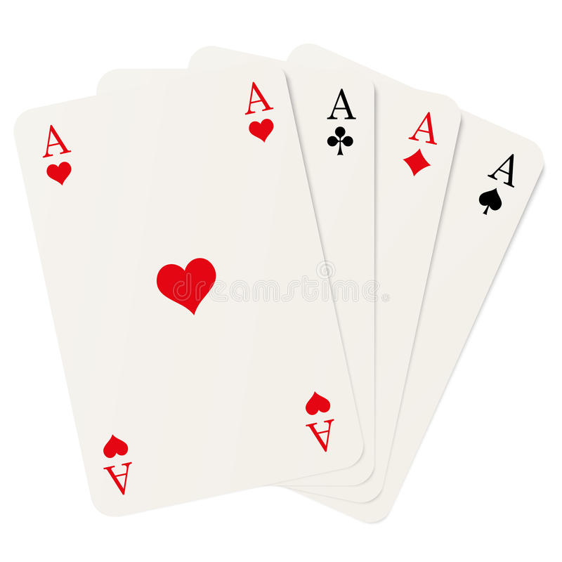 Four aces. Four playing cards with aces isolated on white background stock illustration