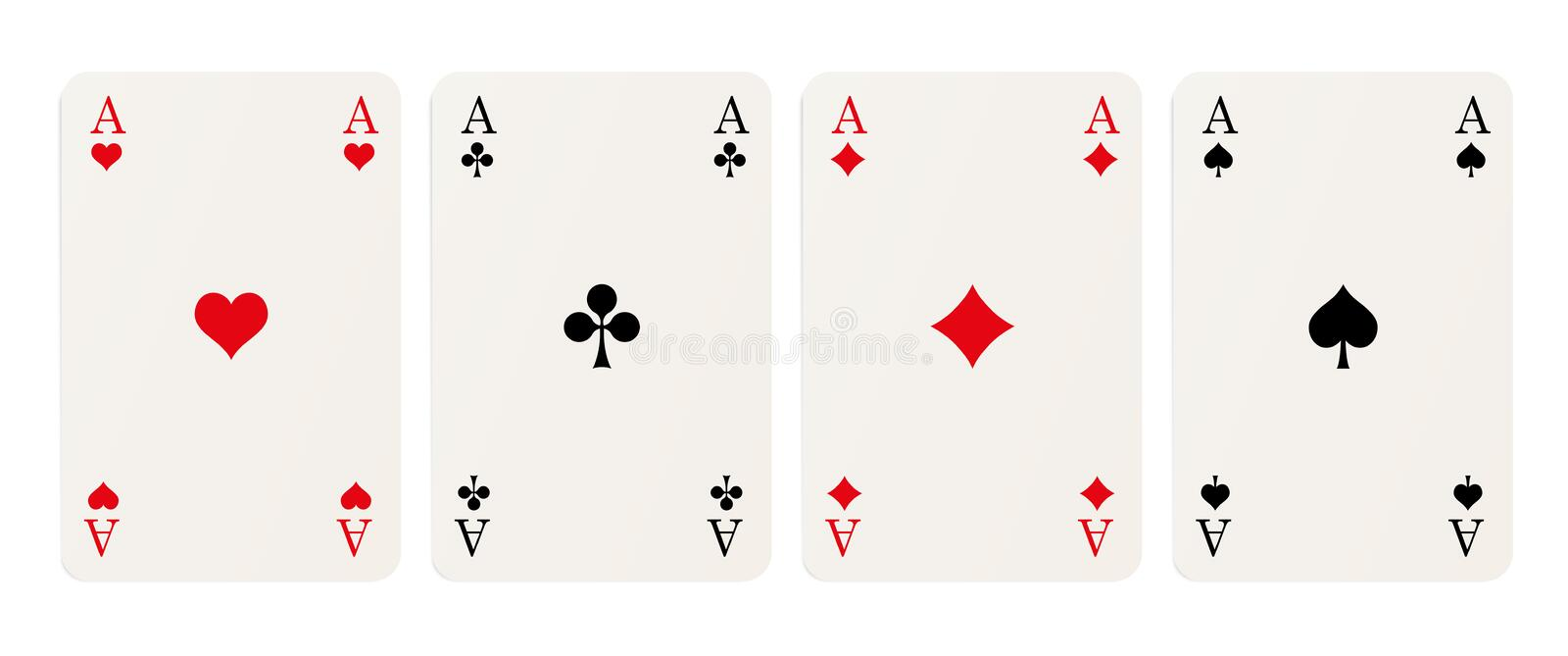 Four aces. Four playing cards with aces isolated on white background vector illustration