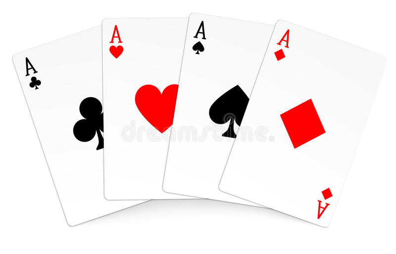 Four aces playing cards poker winner hand. Stock Illustration EPS 10 royalty free illustration