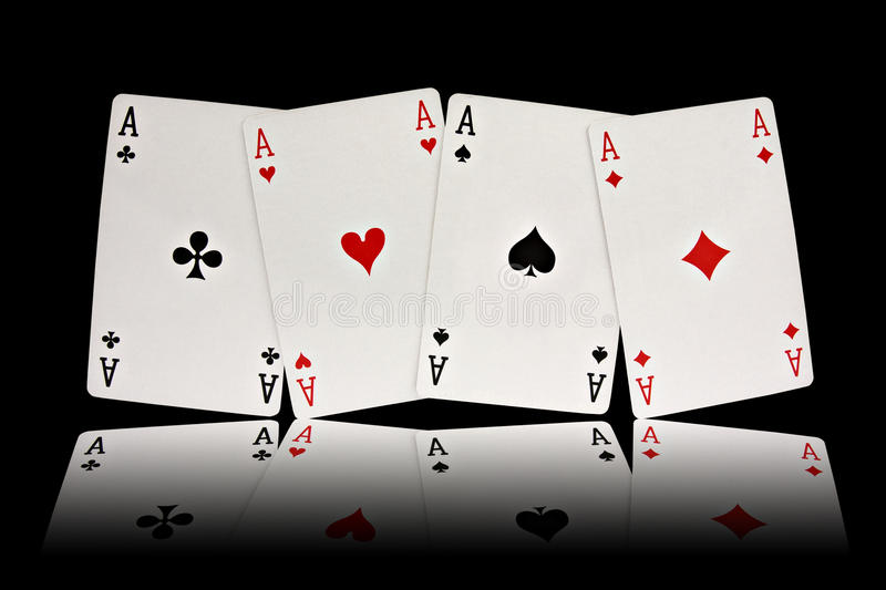Four aces playing cards suits