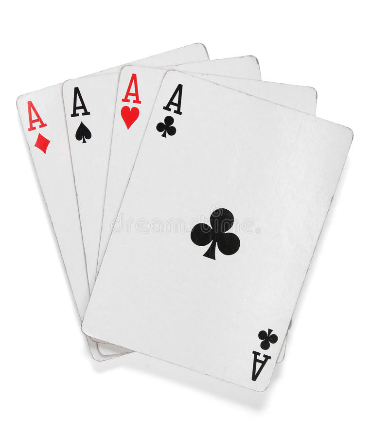 Free Four Aces. Poker Cards Over White Royalty Free Stock Photos - 10885758