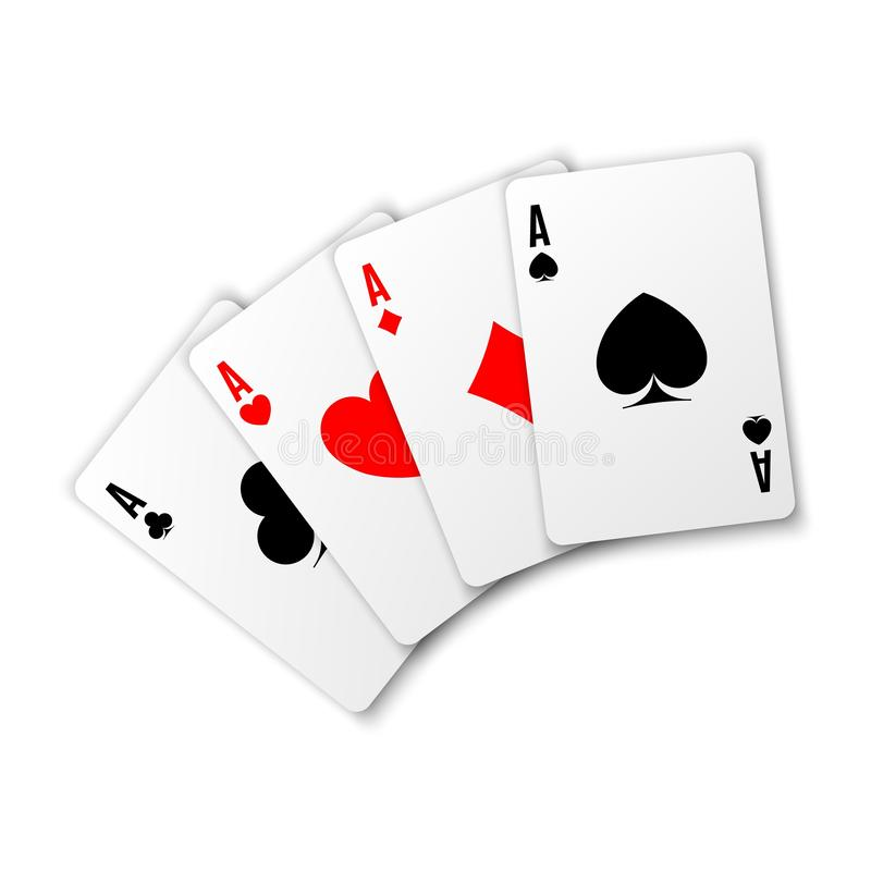 Four aces. Poker winning hand. Heart ace. Four aces. Poker winning hand. Card suit vector illustration on white background. Hearts, clubs spades and diamonds vector illustration