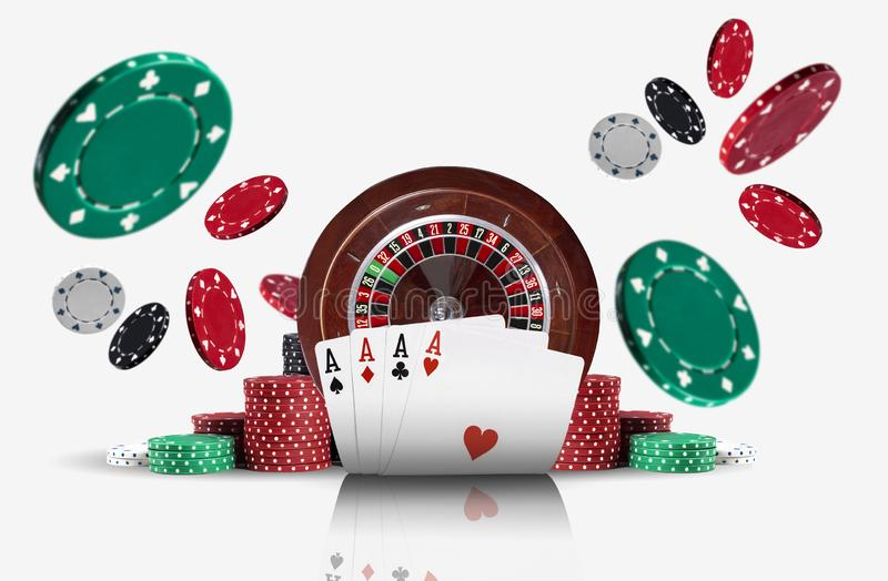 Four aces standing ahead of a brown roulette and chips in piles which flying apart, isolated on white background. Close-up photo of four aces standing ahead of a royalty free stock photo