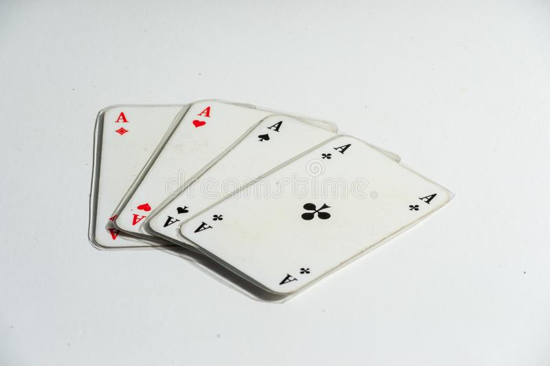 Four Aces on White royalty free stock image