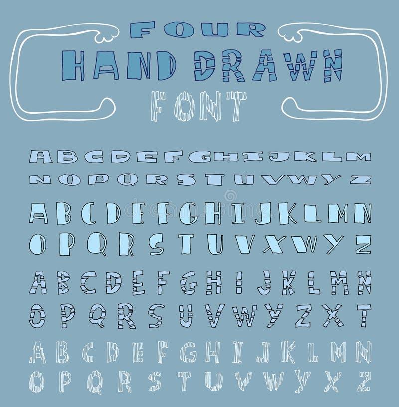 Four Alphabet font line - Vector illustration. Alphabet font line - Vector illustration stock illustration