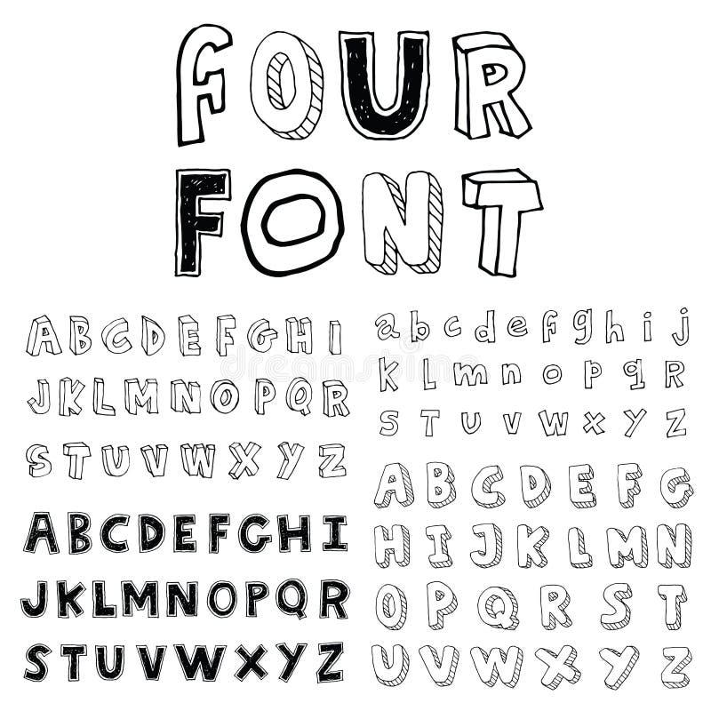 Four Alphabet font line - Vector illustration. Alphabet font line set- Vector illustration royalty free illustration