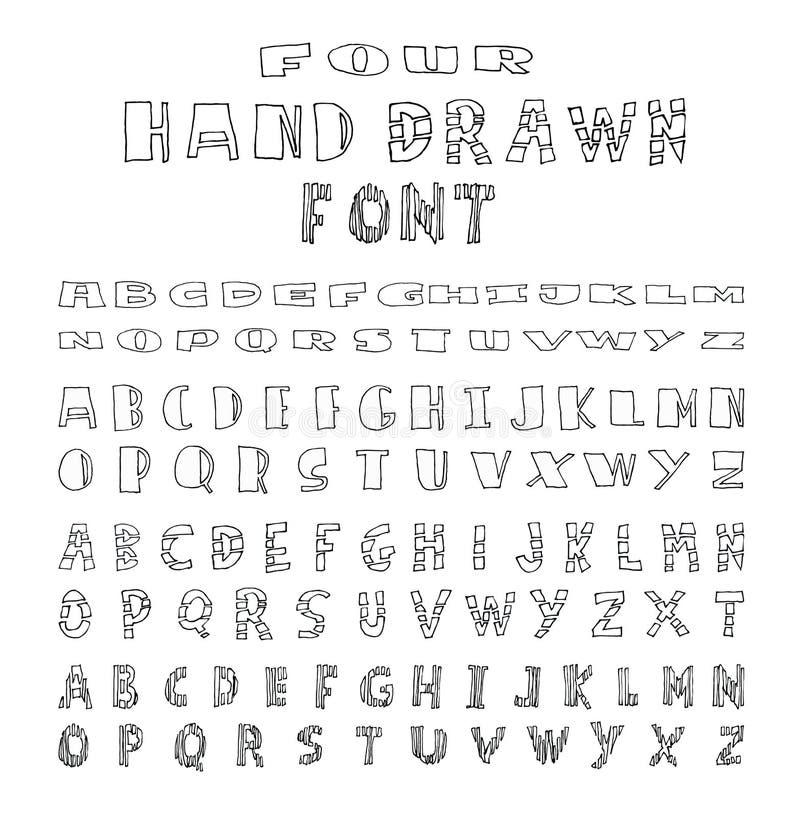Four Alphabet font line - Vector illustration. Alphabet font line set- Vector illustration vector illustration