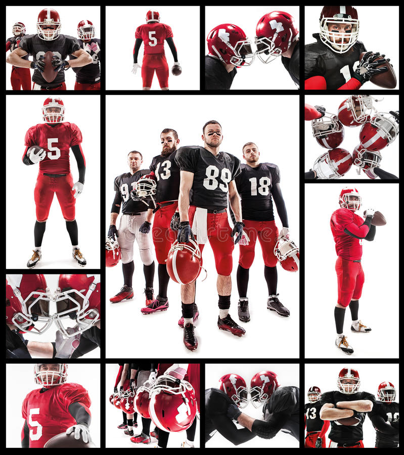 The four american football players posing with ball on white background royalty free stock photography