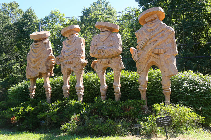`The Four Amigos` sculpture by artist Garret McFann in Hamilton, NJ. HAMILTON, NEW JERSEY - SEPTEMBER 25, 2016: `The Four Amigos` sculpture by artist Garret stock image