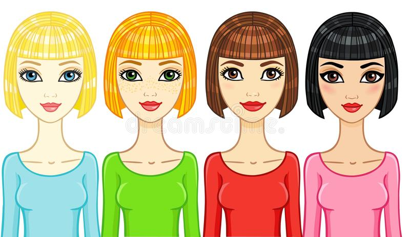 Four animation girls of a different phenotype. stock illustration