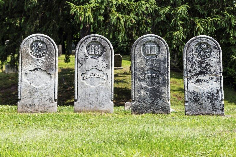 Four Antique Gravestones royalty free stock image