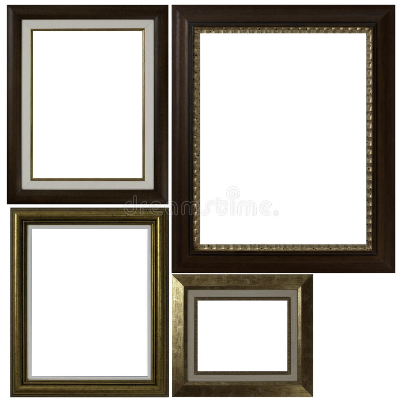 Four antique picture frames. Isolated on white background royalty free stock images