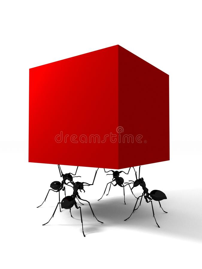Four ants and red box vector illustration