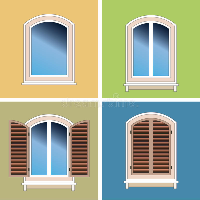 Four arched windows over stucco background. Four types of classical arched windows, closed with shutters, open and with decorative frame over blue, yellow and vector illustration