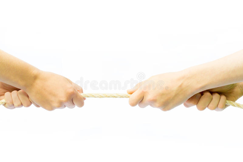Four arms pulling rope royalty free stock photos