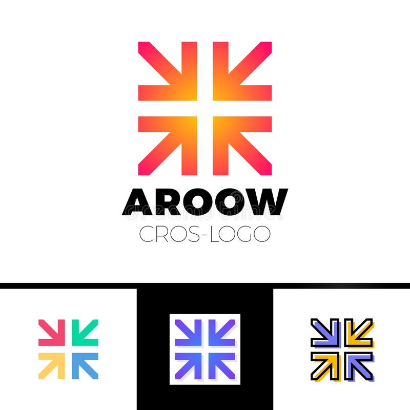 Four arrows logo form cross or plus graphic concept, intersection 4 directions creative emblem royalty free illustration