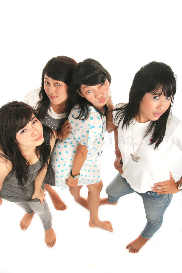 Four asian girls stock images