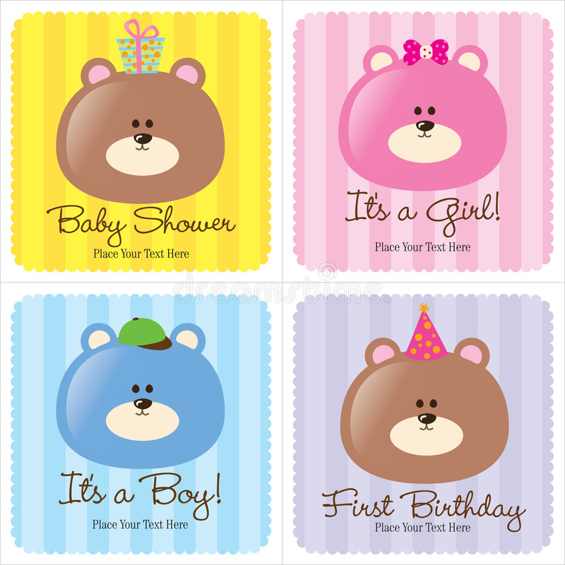 Four Assorted Baby Cards stock photo