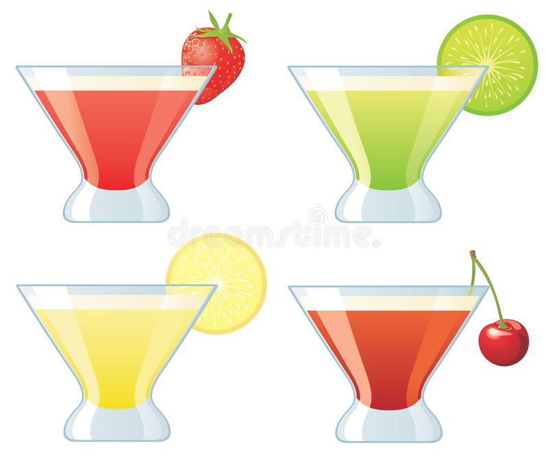 Four Assorted Cocktails Stock Photography