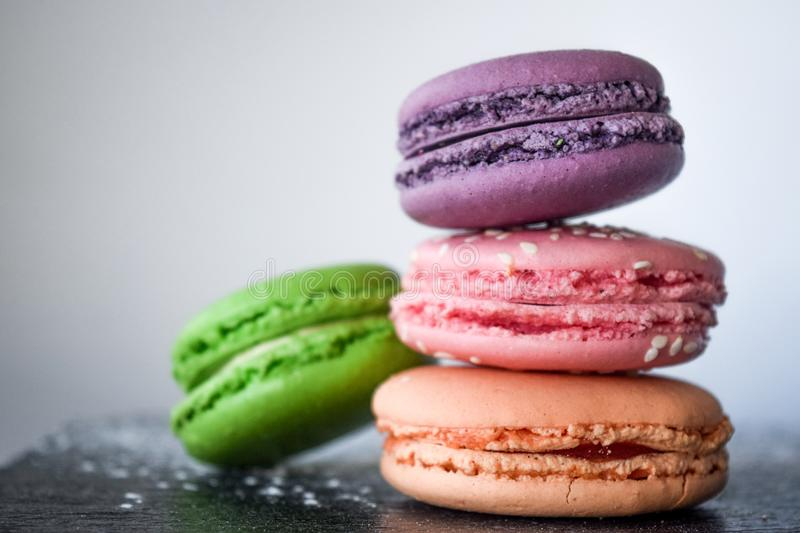 Four Assorted-color of Macaroons royalty free stock image