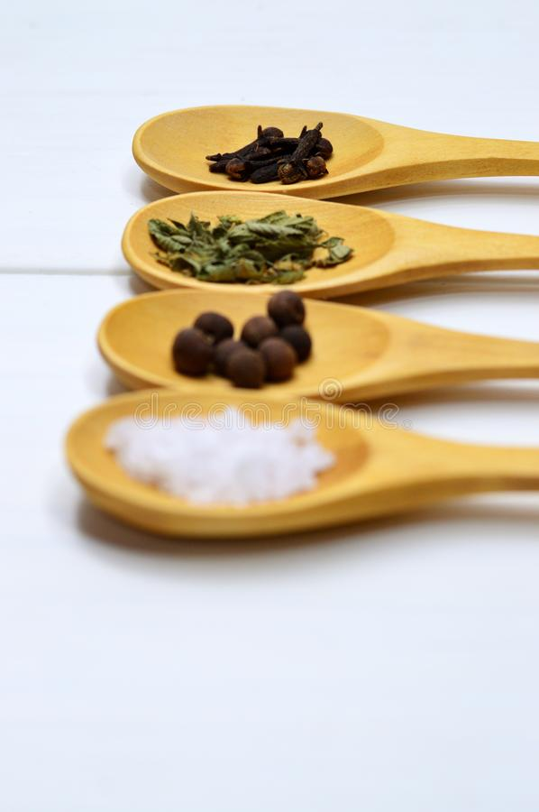 Four Assorted Spices on Brown Wooden Spoon royalty free stock photo