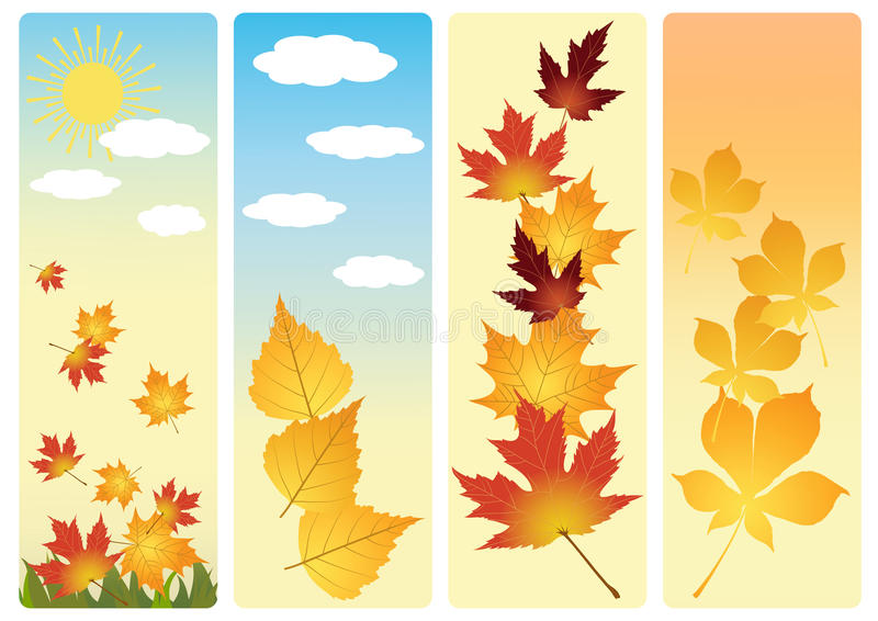 Download Four autumn banners. stock vector. Image of icon, computer - 14936881