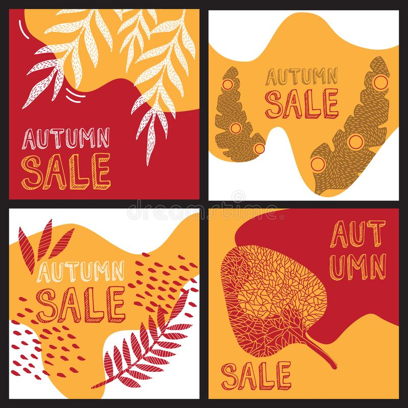 Four Autumn Sale cards, banners square templates with colorful pattern leaves. Modern jungle background. stock illustration