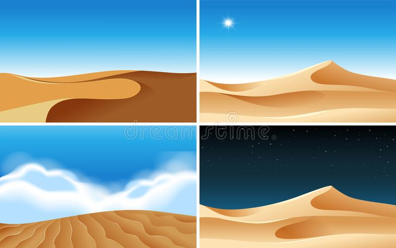 Four background scenes of deserts at different times. Illustration vector illustration