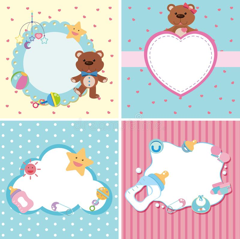 Download Four Background Templates With Baby Theme Stock Vector