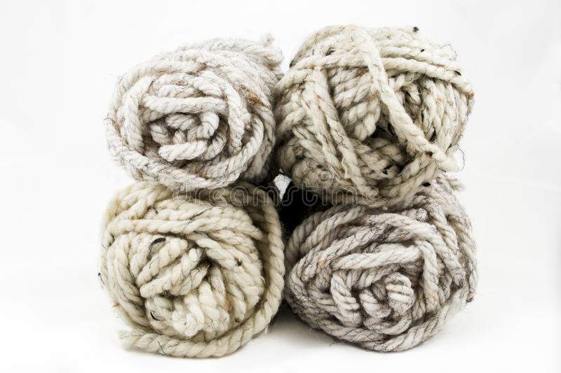 Four Balls of Neutral Colored Yarn stock image