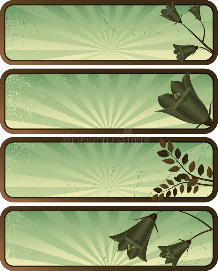 Four banners -abstract grunge background - floral stock photos