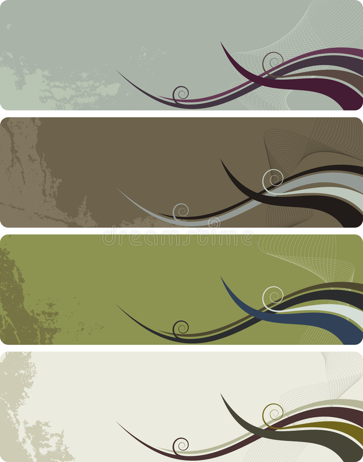 Four banners - abstract grunge background waves stock illustration
