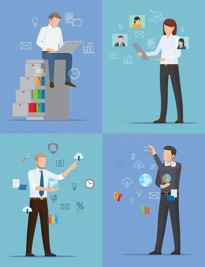 Four Banners with Busy People Vector Illustration. With one woman and three men in official suits standing and sitting surrounded by different icons royalty free illustration